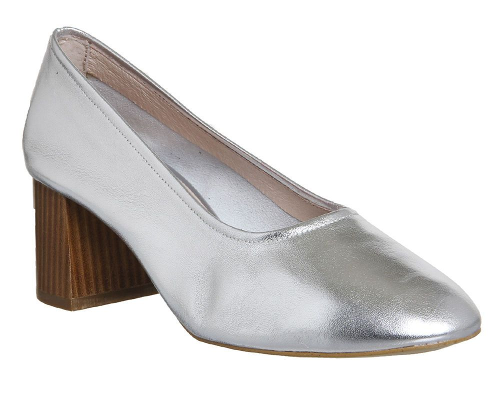 9af29bc9614 Womens Office Silver Leather Slip On Ballerinas Size UK 7 Ex Display ...