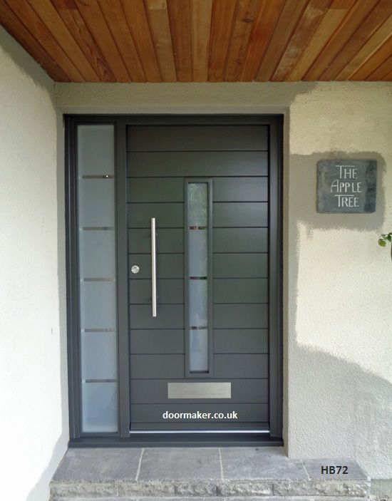 grey contemporary door and frame with sidelight sandblast glass with clear etched lines