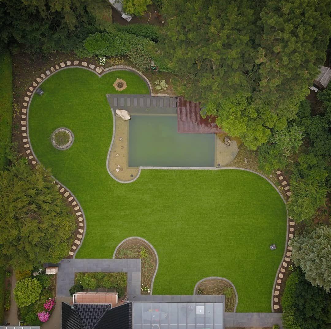 Vorher Nachher Drohnenaufnahme Gartengestaltung In Moers Vorhernachher Drohnenfotografie Drohne Luftbi Gartengestaltung Garten Design Landschaftsbau