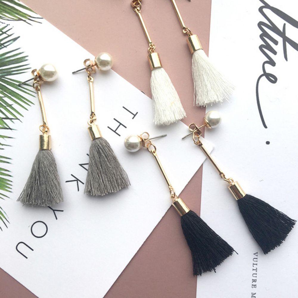 Boho Dangle Drops Earings Pink/Black/White Handmade Tassels Earrings For Women Jewelry Long Pearls Earing #Affiliate