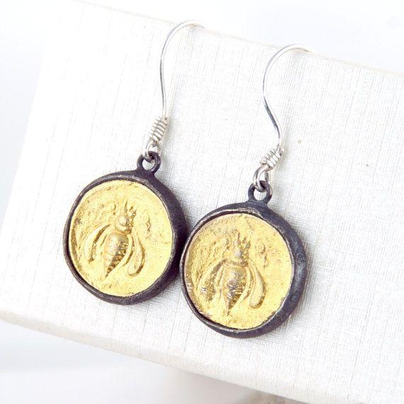 Ancient Coin - 18K gold - 925 Sterling Silver Earrings - Ephesus Bee, Honeybee