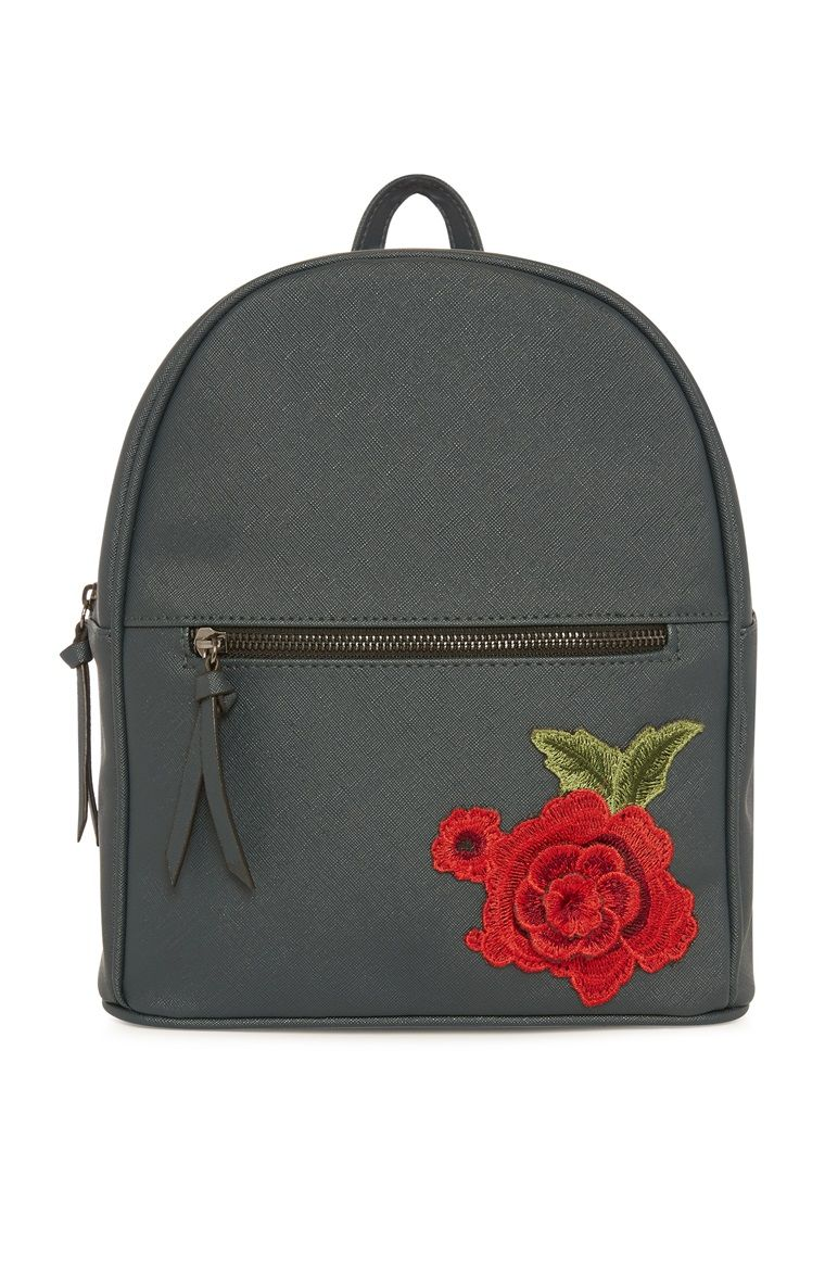 e0e33838e2 Primark - Mini Embroidered Teal Backpack Rose Embroidery