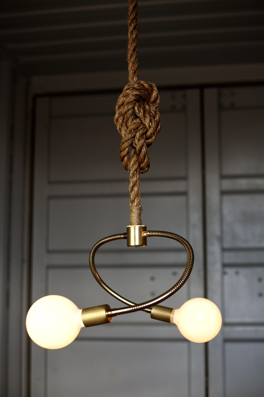 Modern Pendant Light Brass Chandelier Manila Rope Light