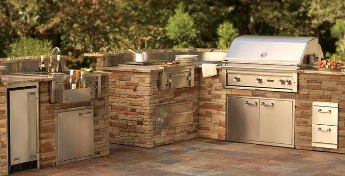1001 ideen f r outdoor grillk che mit modernem design for Grillkuche garten