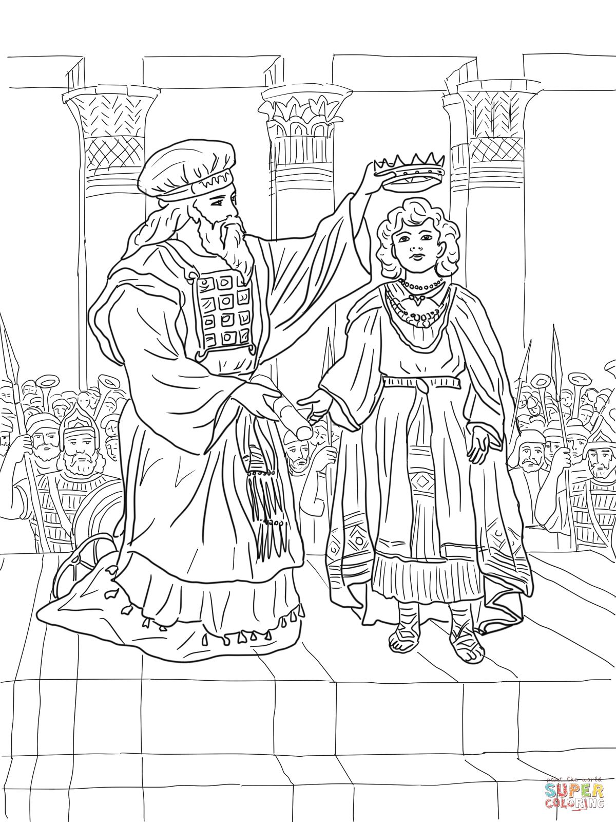 King joash crowned coloring page supercoloring com