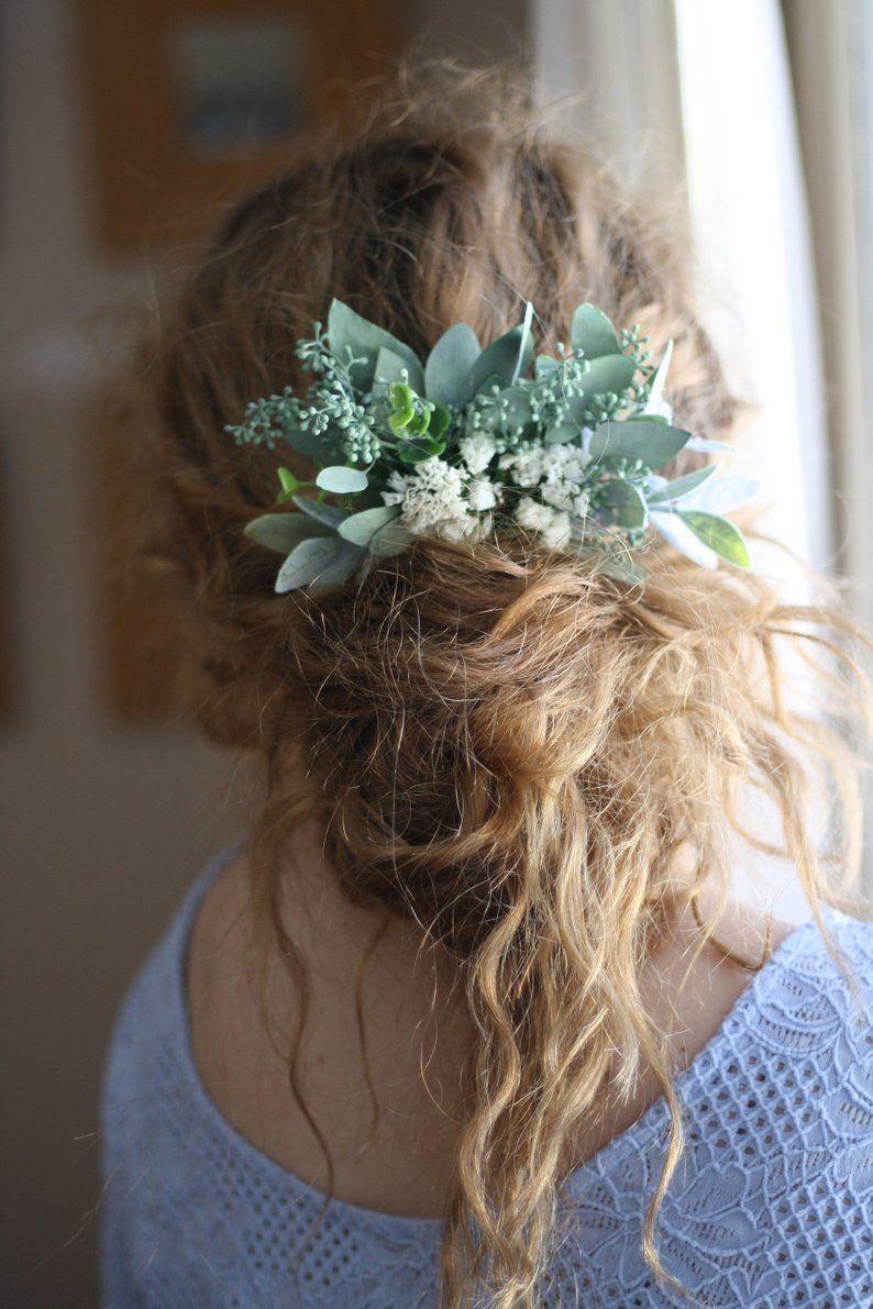 Eucalyptus hair comb greenery succulent Bridal hair vine boho ...