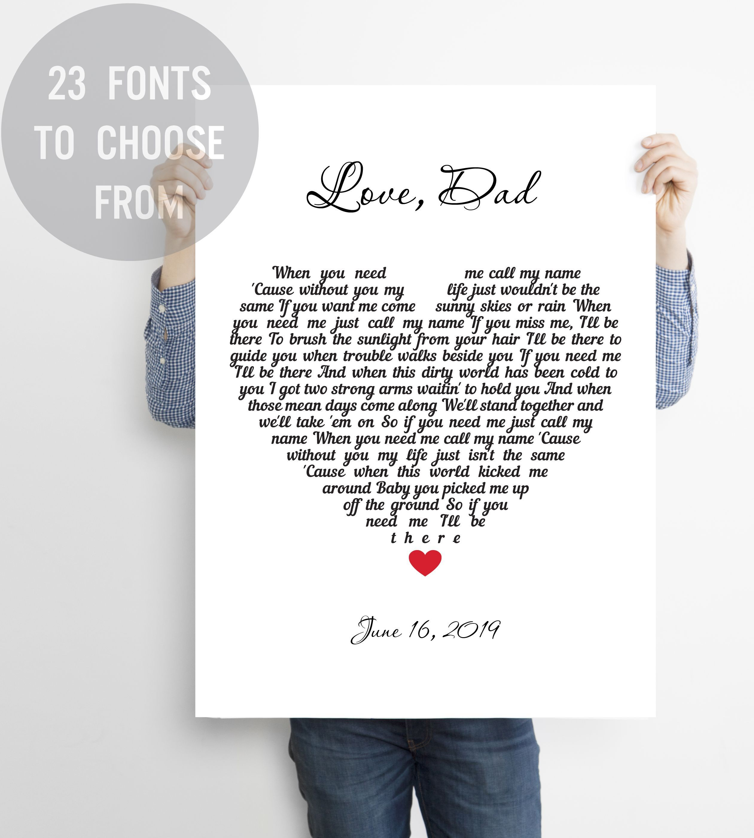 Father Daughter Gift A Father holds quote Custom Print Art Gift For Dad FRAME NOT INCLUDED* Father of Bride Gift,Personalized Fathers Day Gift