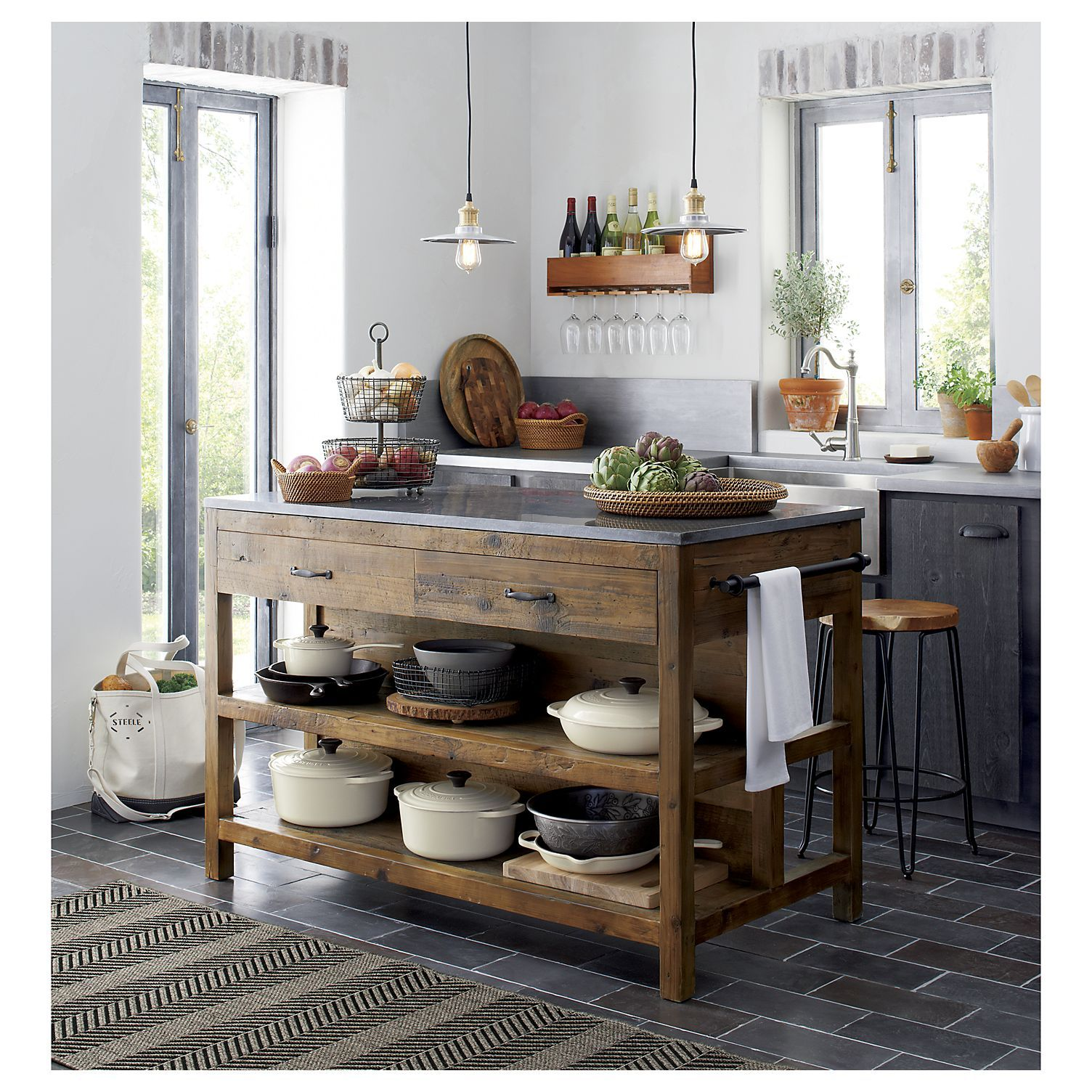 Bluestone Kitchen Island In Kitchen Islands & Carts  Crate And Enchanting Rustic Kitchen Cart 2018