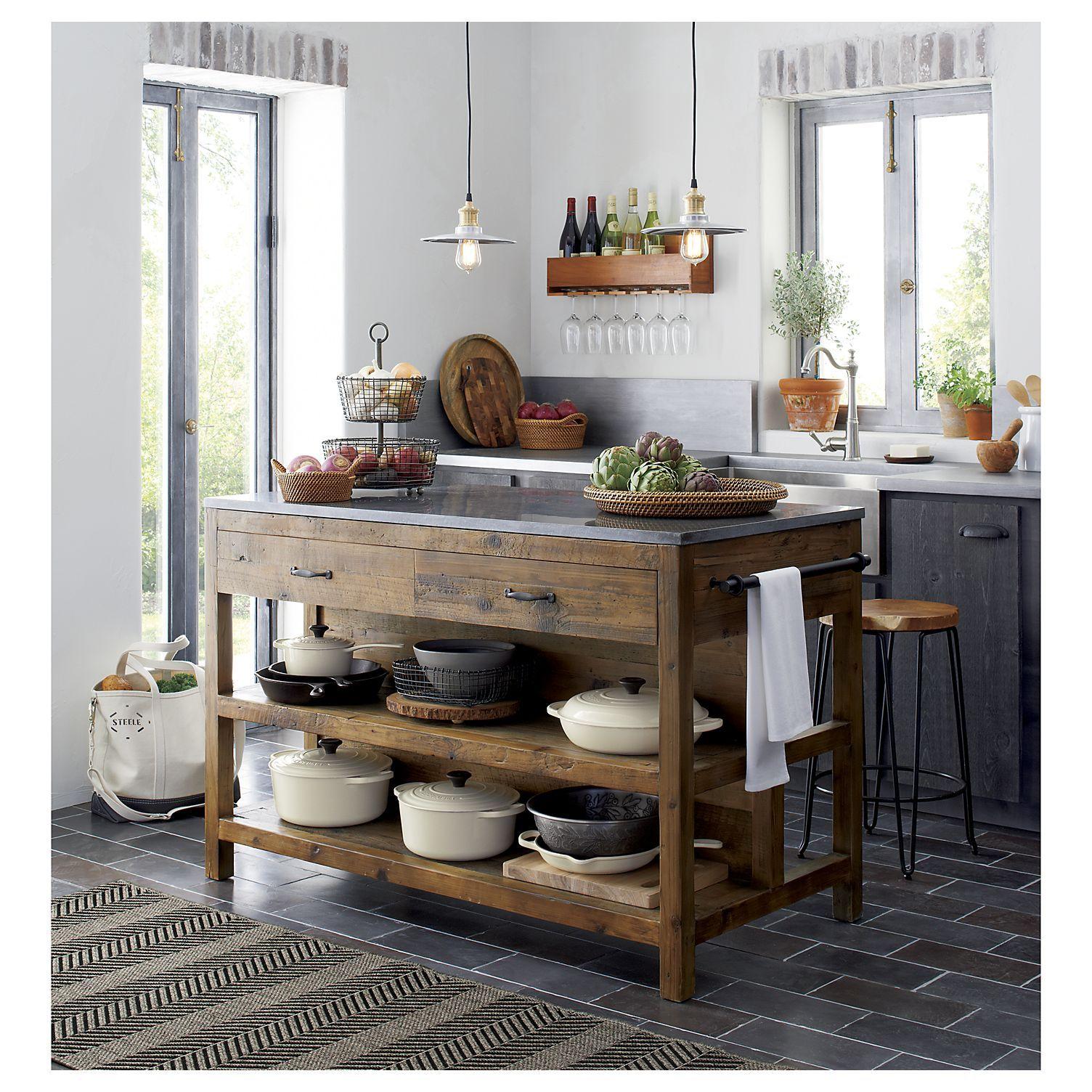 Narrow Country Kitchen: Bluestone Reclaimed Wood Kitchen Island