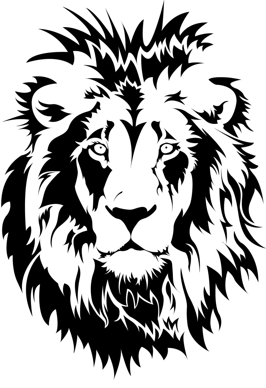 Lion silhouette, Animal stencil