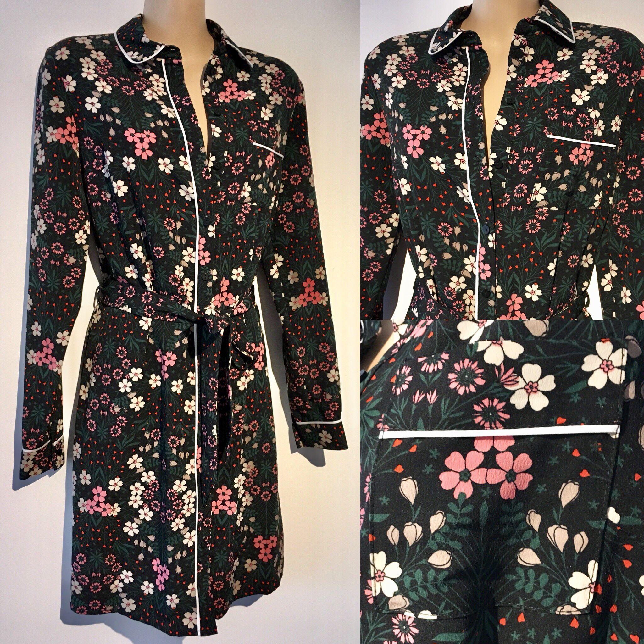 Floral wonderland long sleeved shirt dress new sizes uk 6