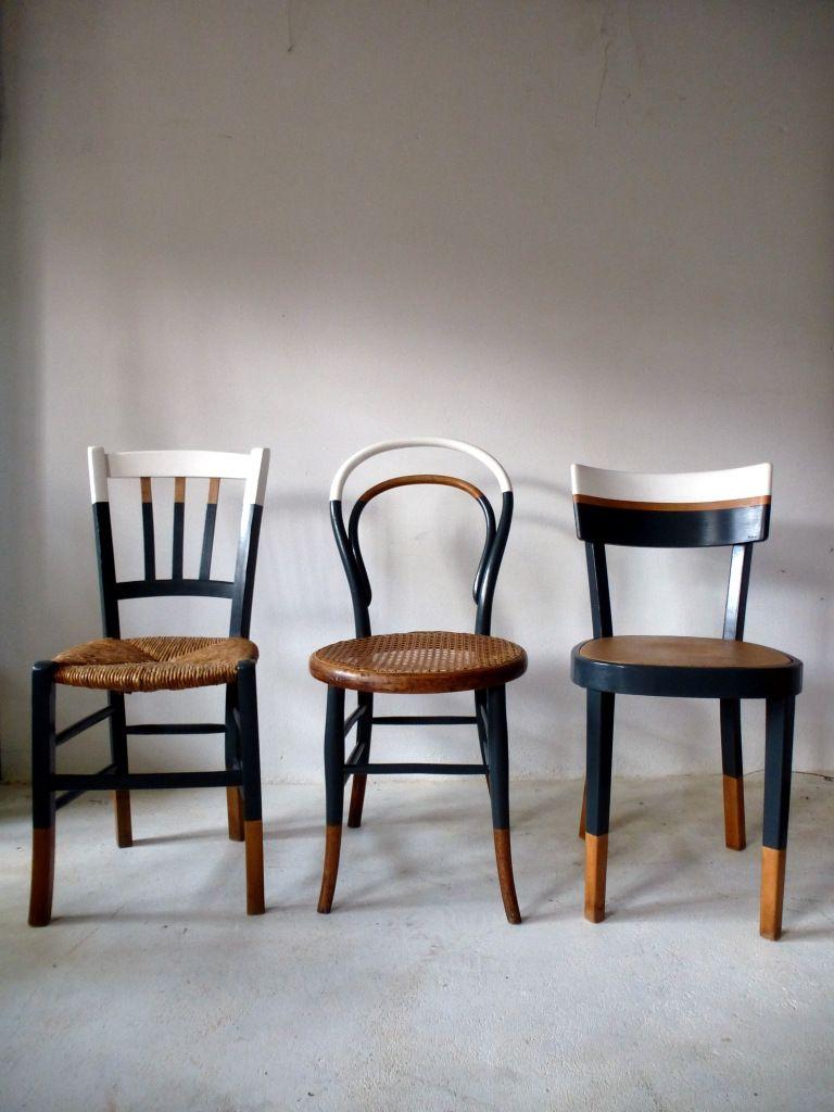6 Chaises Depareillees Vintage Bistrot Relookees Blanc Bois Gris Cuivre Thonet Baumann Salon Ou Cuisine Pour Relooking De Mobilier Chaise Deco Relooking Meuble