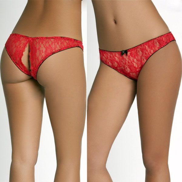 447e271d37 Women Racy Perspective Lace Hips Open Low Rise Thongs Panties