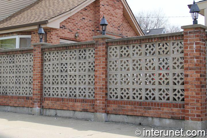 Decorative Brick Fence Brick Fence With Concrete Blocks And Lights On Pillars Brick Fence Backyard Fences Fence Landscaping