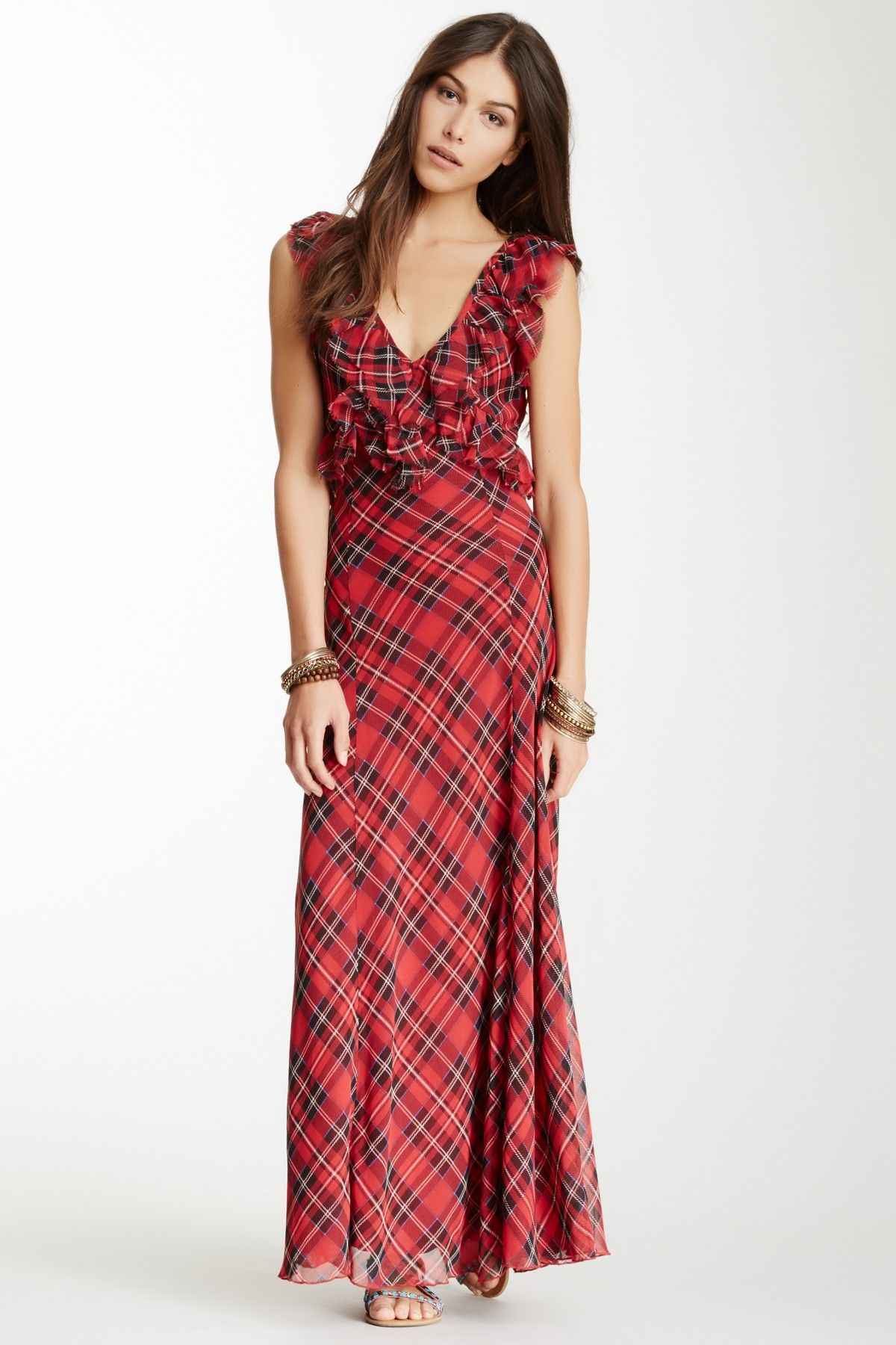 Venitia plaid ruffle maxi dress clothing and style pinterest