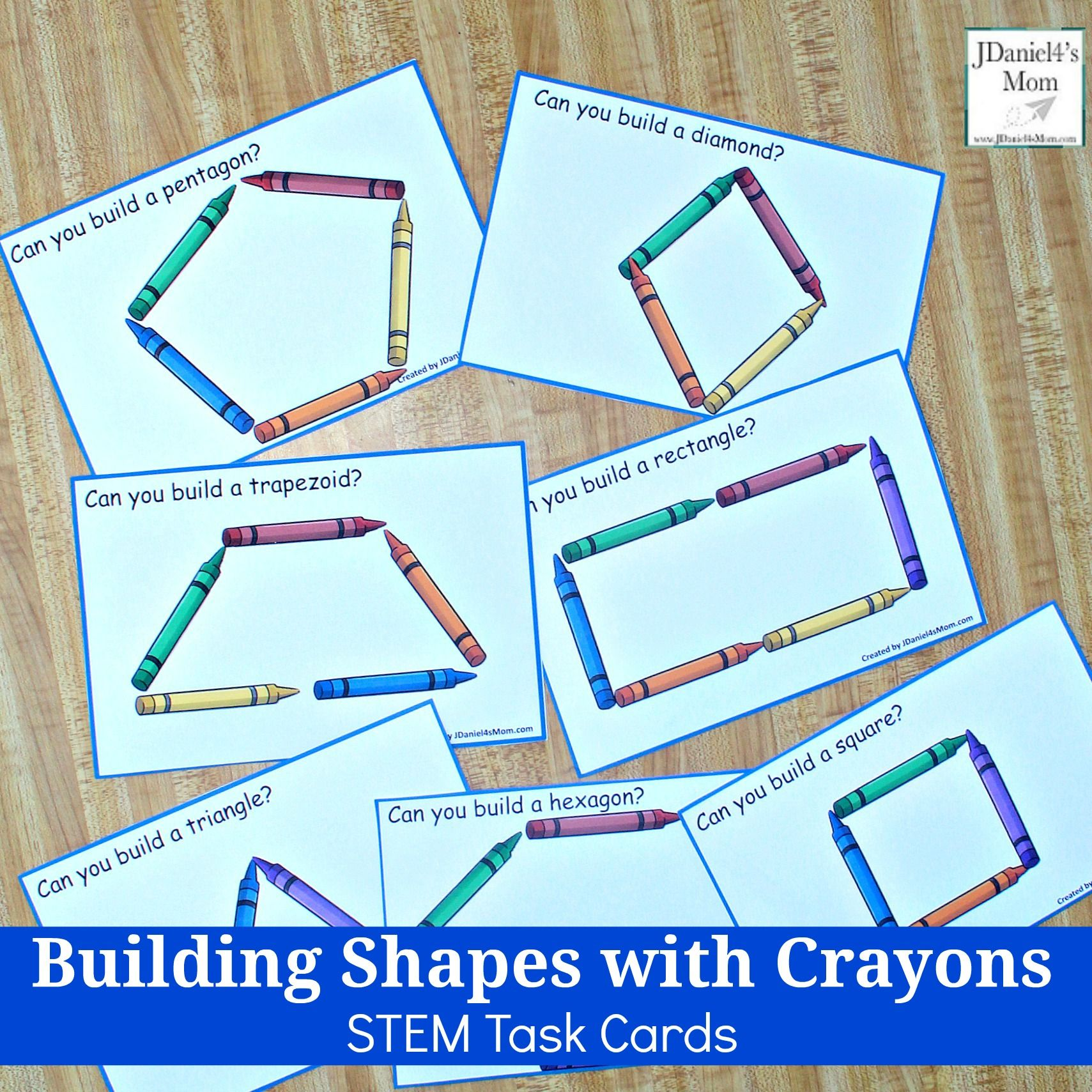 Building Shapes With Crayons Stem Task Cards