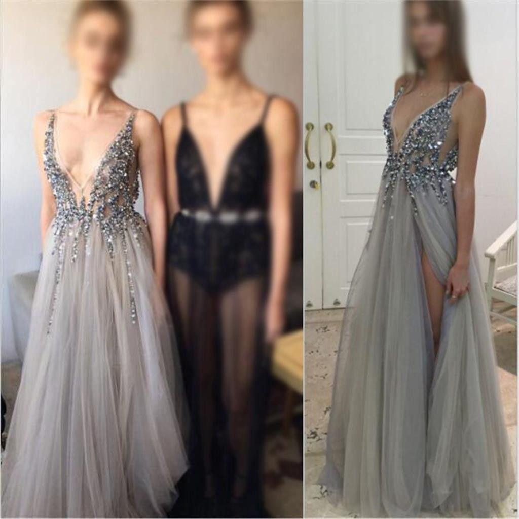 Sexy Deep V-Neck Side Slit Prom Dresses acb5add12eee