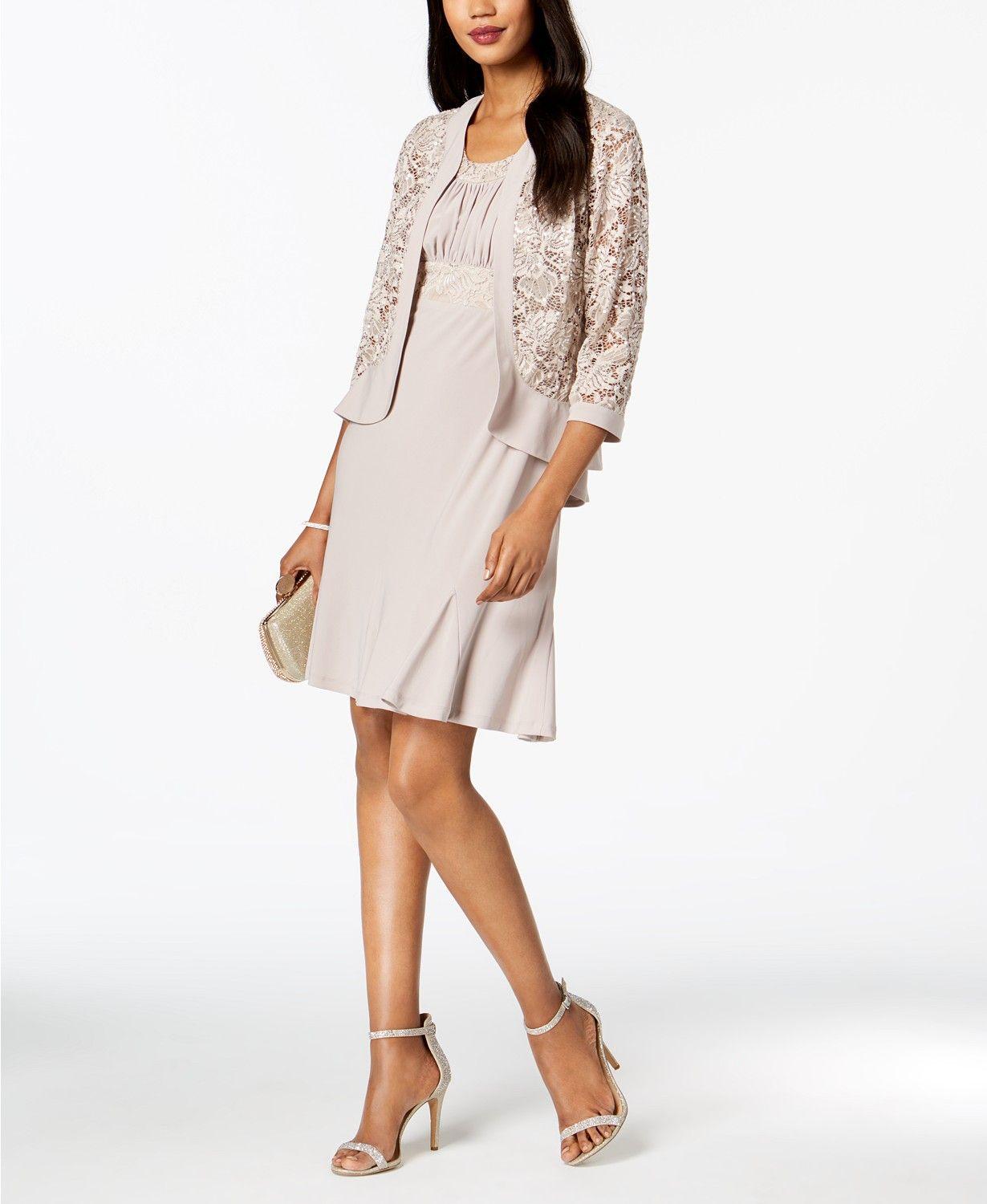 Lace dress macys  R u M Richards Dress u Sequined Lace Jacket  macys  GMA