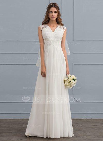 3499ad92a67d  US  119.99  A-Line Princess Sweetheart Floor-Length Chiffon Wedding Dress  With Ruffle (002119798)