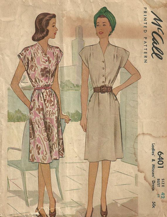 McCall 6401 Vintage 40s Sewing Pattern Dress by studioGpatterns, $16.50