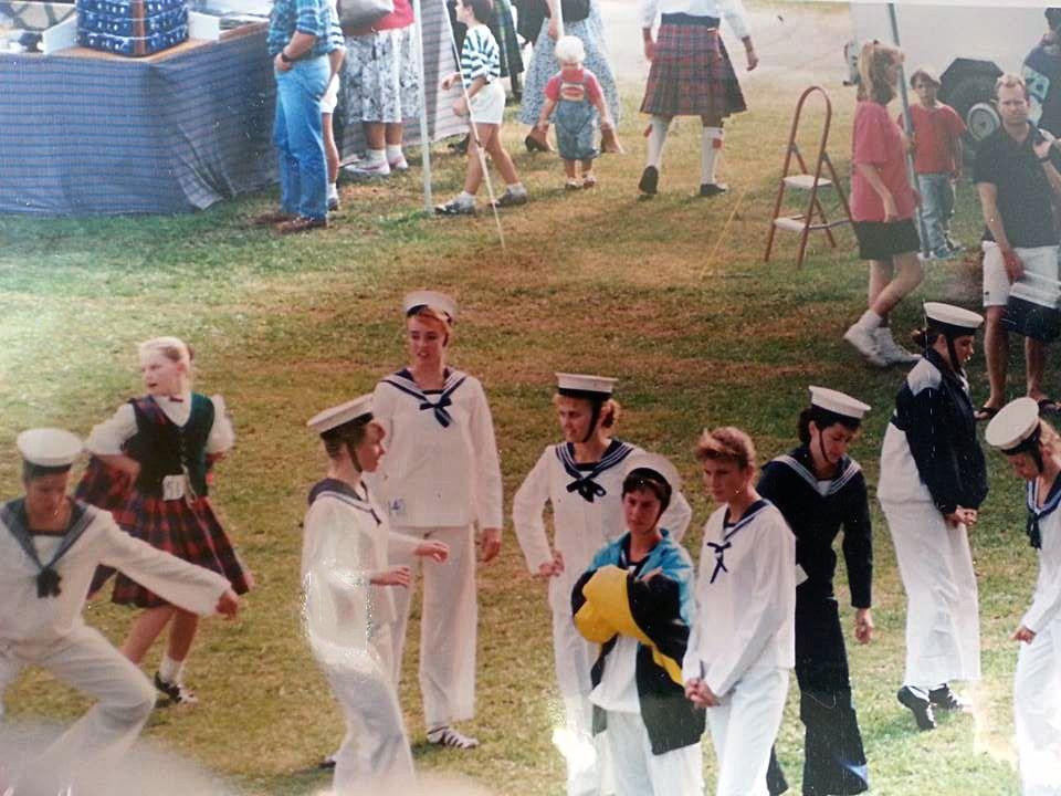 Dancers at Maclean Highland Gathering in 1992 with Leanne McMillan Peters, Tarn Brown, Rachael Sommerville,  Peta Crompton and Heather McGinn.