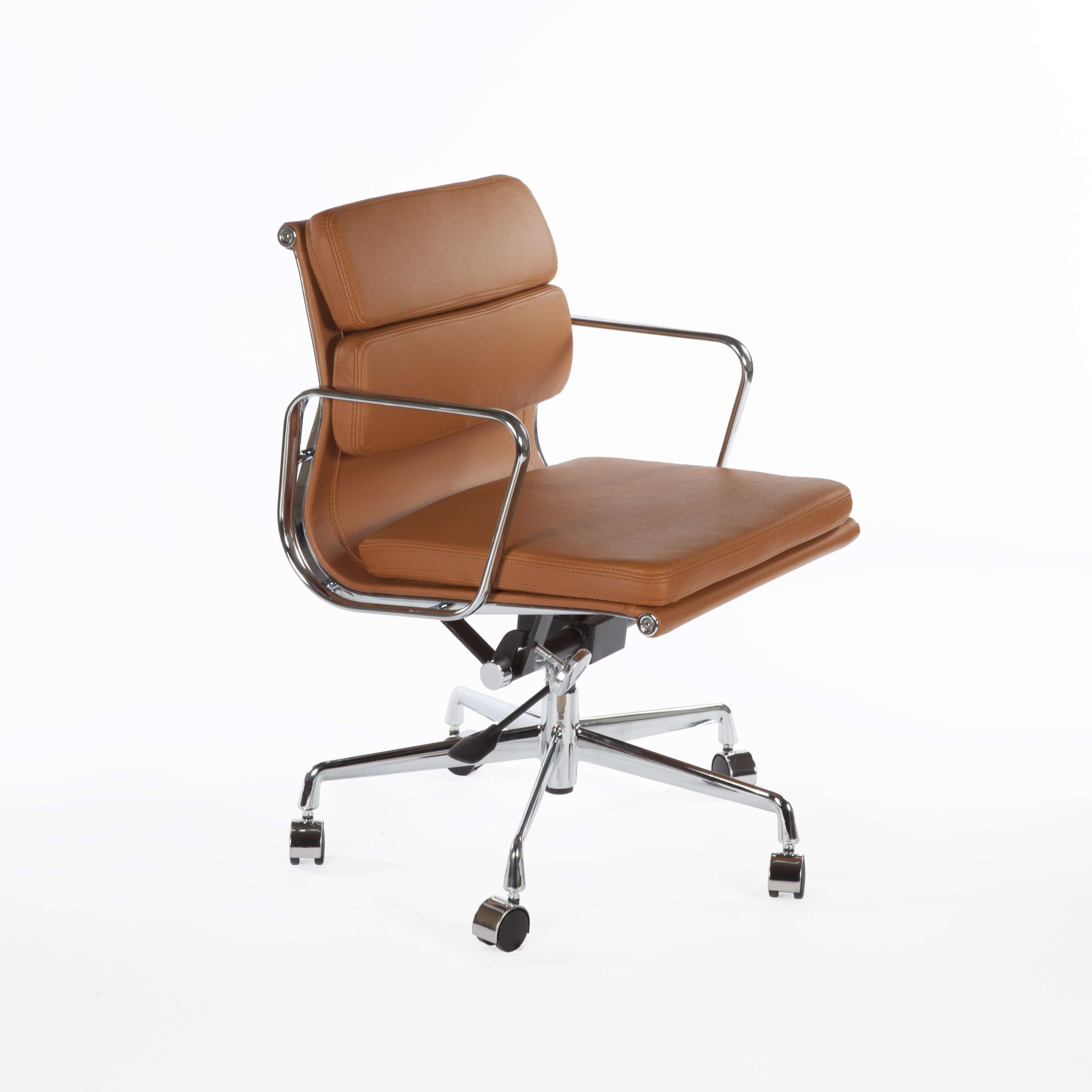 Catania Office Chair In Real Leather With Cast Aluminum Legs And Arms Brown Leather Office Chair Mid Century Modern Office Chair Mid Century Modern Desk Chair