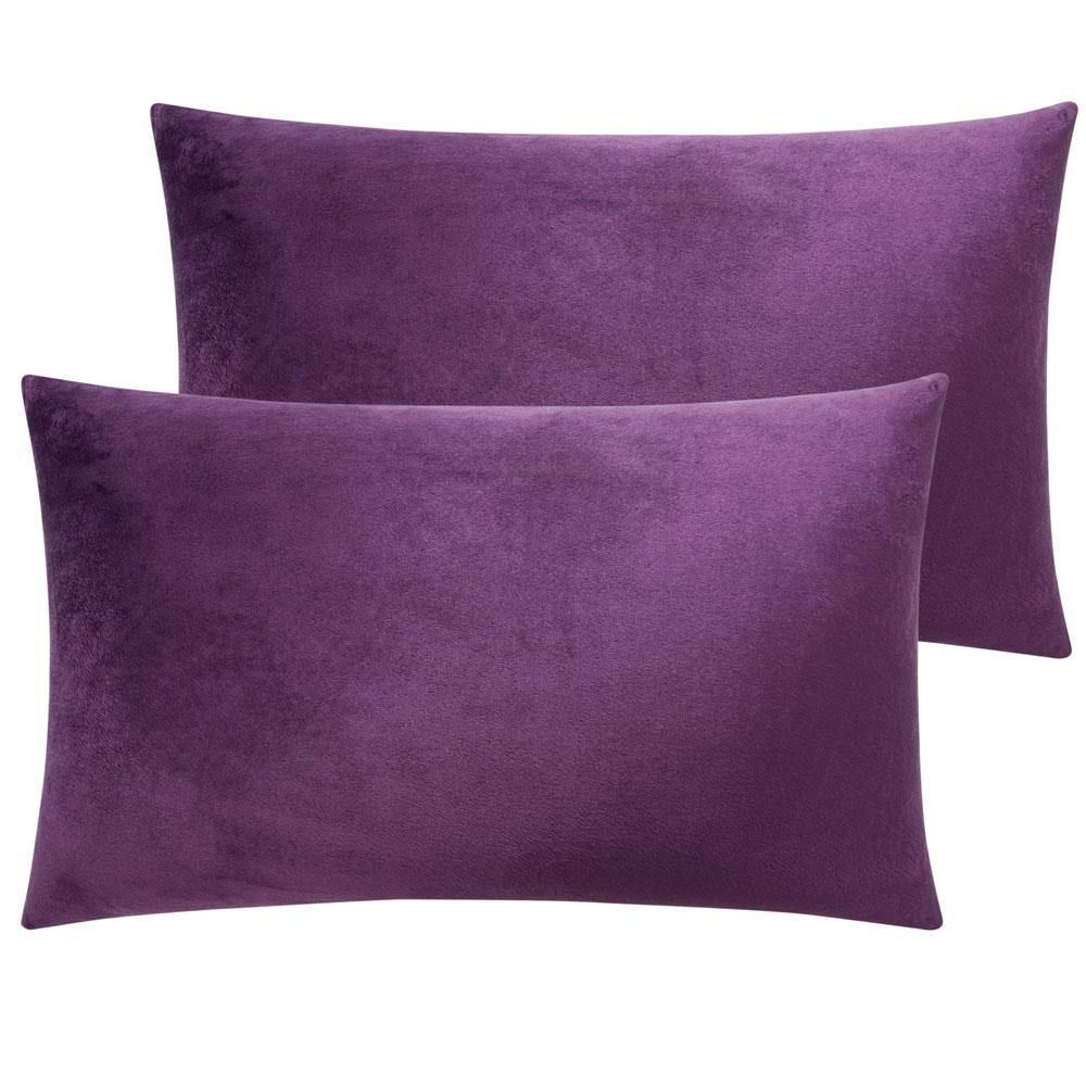 2 Pack Cozy Velvet Throw Pillow Cover - 12 x 20 inches / Purple