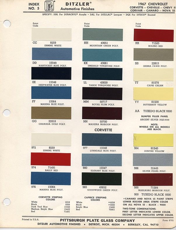 67 Corvette Color Chart Vote Which 1967 Bb Color Do You Like