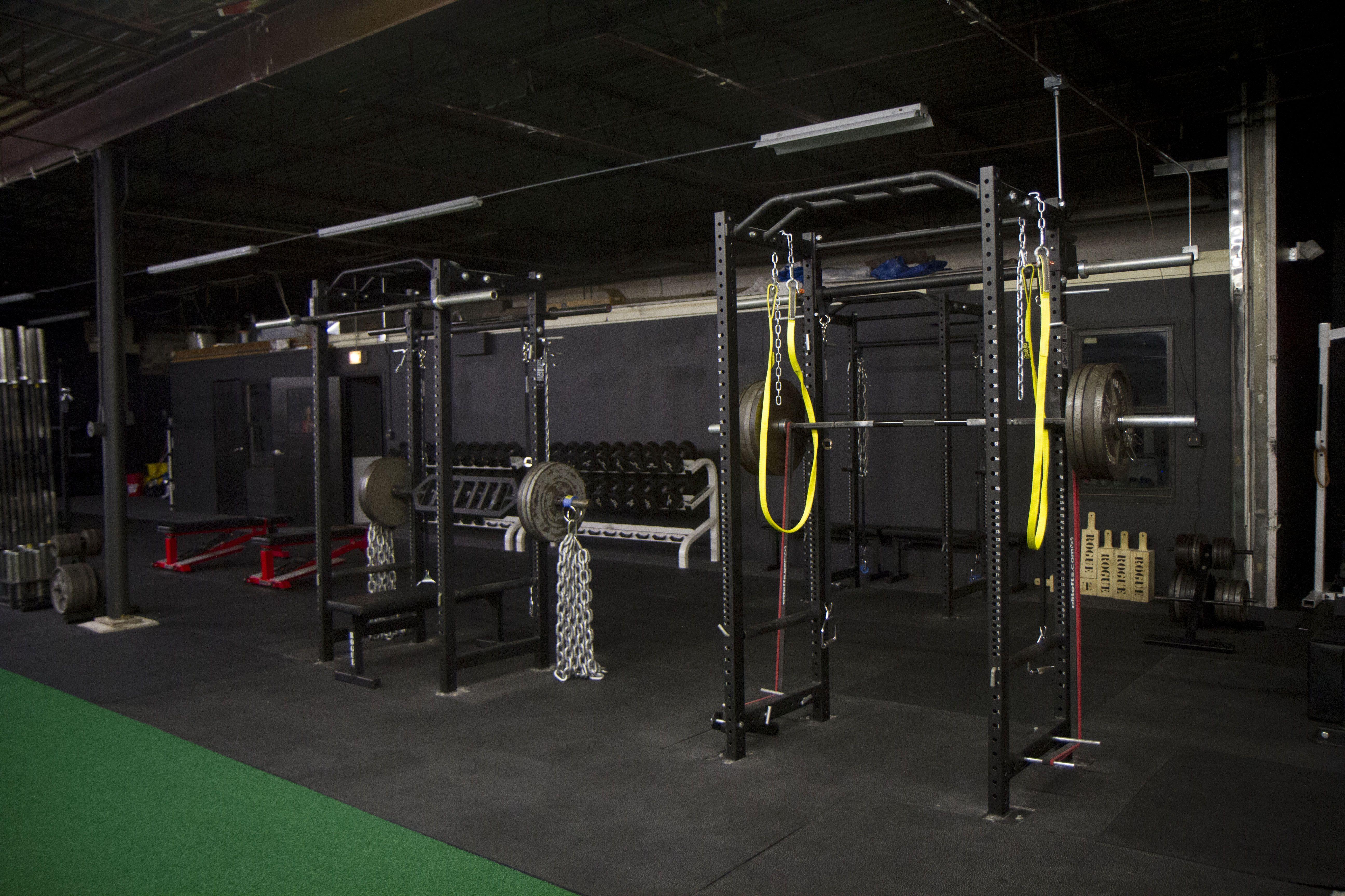 The Triplets 3 Westside Rogue Power Racks With A Band Squat Setup