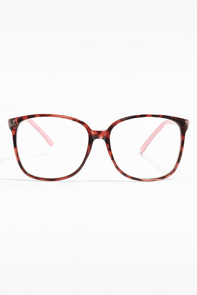 Akira  Thin Frame Clear Wayfarer Glasses - Berry Tortoise Pink - 5355-2.   60d620c308