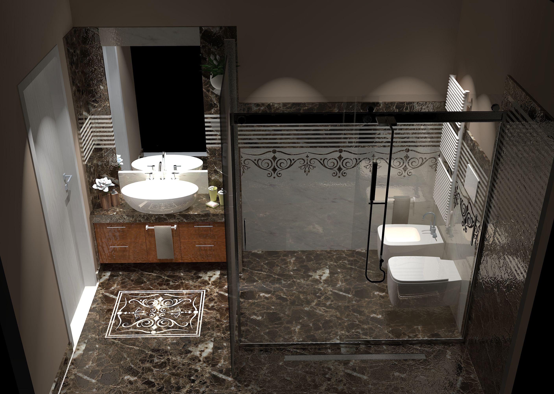 Un raffinato rivestimento in marmo emperador dark e bianco - Mobile bagno marmo ...