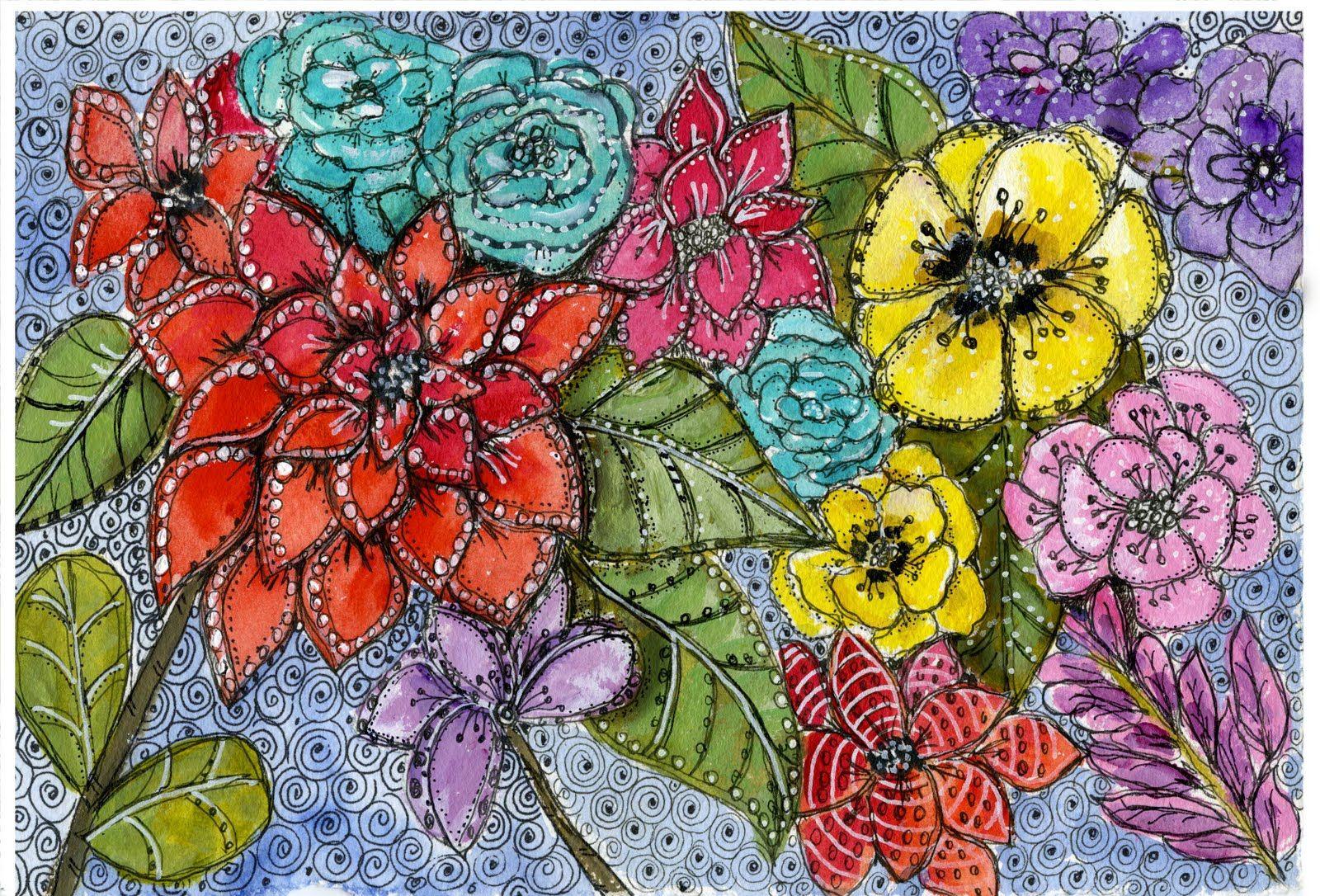 Art du Jour by Martha Lever: Doodle Flowers in Greenville | Doodles ...