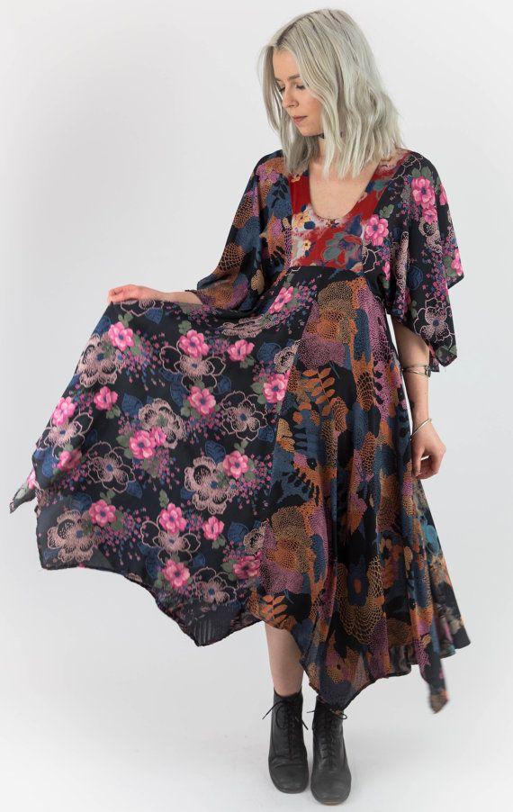 Bohemian Dreams Vintage 70/'s Floaty Mixed Pattern Angel Sleeve Scarf Top Dress