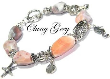 Frolic in the Waves Yes, this is an agate bracelet! The agate is pink Botswana agate, one of our favorites for its wonderful patterns and colours that just can't be beat. Here Cluny has mixed it with sterling silver elements including sea-themed charms, a starfish, a sand dollar, and a seahorse. $86.99