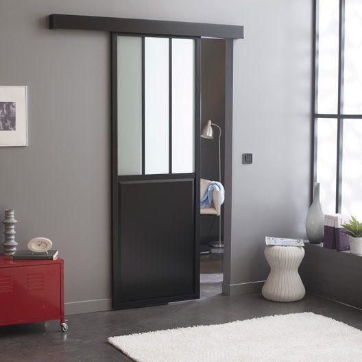Porte coulissante verre tremp rev tu atelier artens 204 x 83 cm cuisine - Porte coulissante verre ...