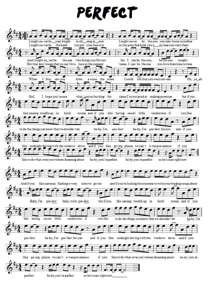 One Direction Perfect Violin Sheet Music Violin Sheet Music