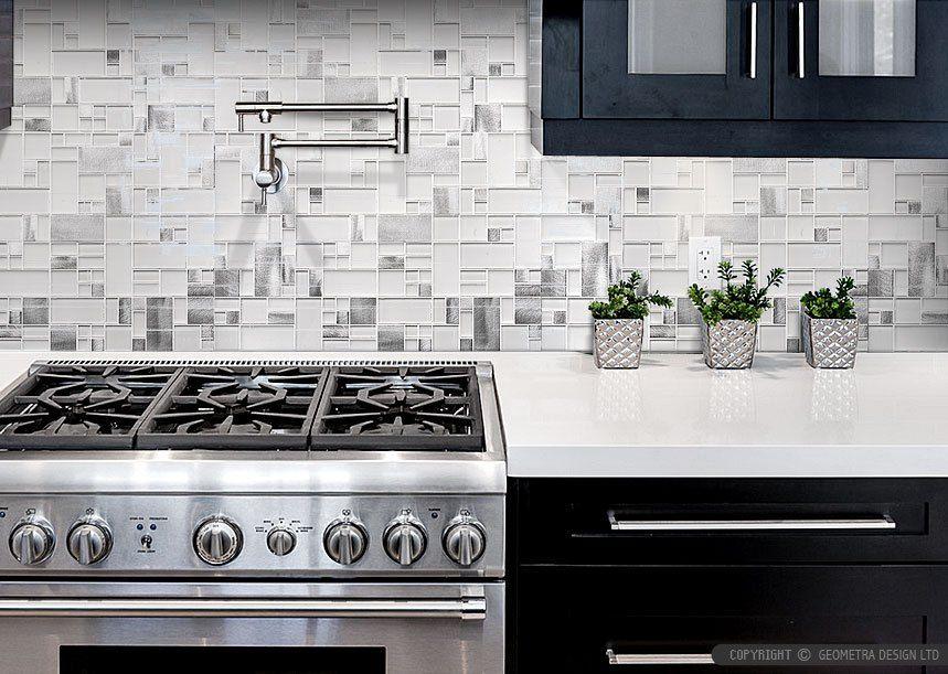 Best Metal Glass Kitchen Backsplash Modern Dark Cabinet 640 x 480