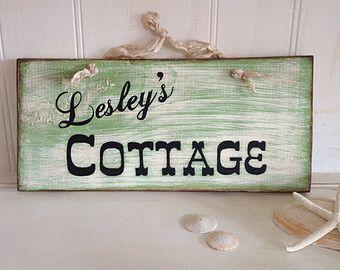 Personalized Cottage Wood Sign, Door Hanger Personalized Cottage Sign, Handpainted Personalized Door Hanger Wood Sign
