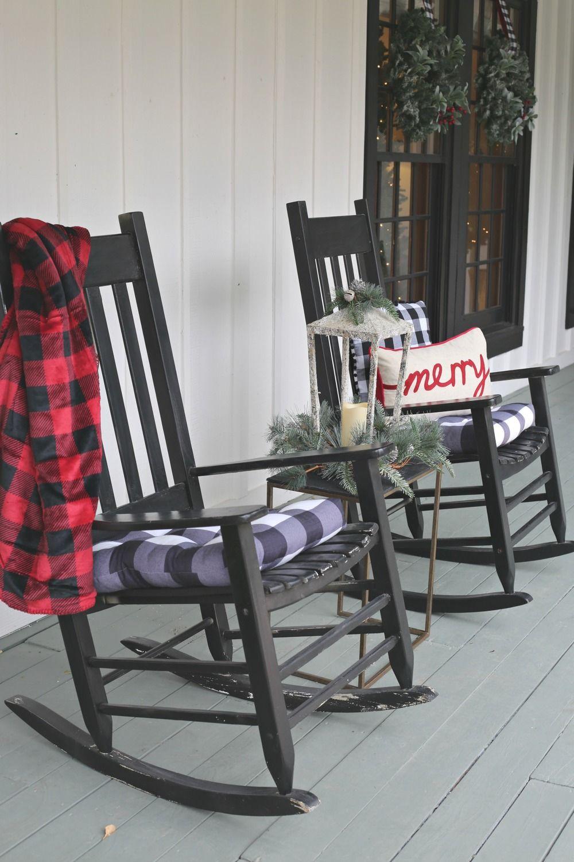 Modern Farmhouse Christmas Home Tour Rocking chair porch