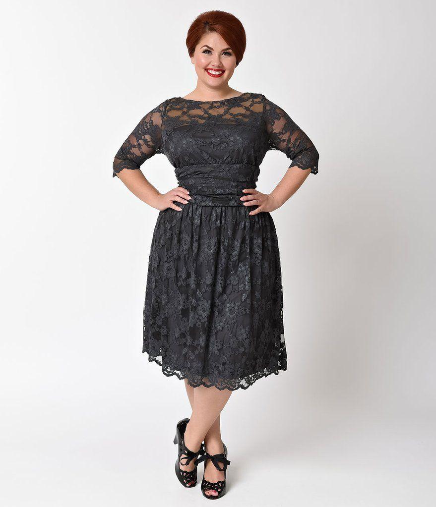 Plus Size Twilight Grey Luna Lace Dress in   Dresser