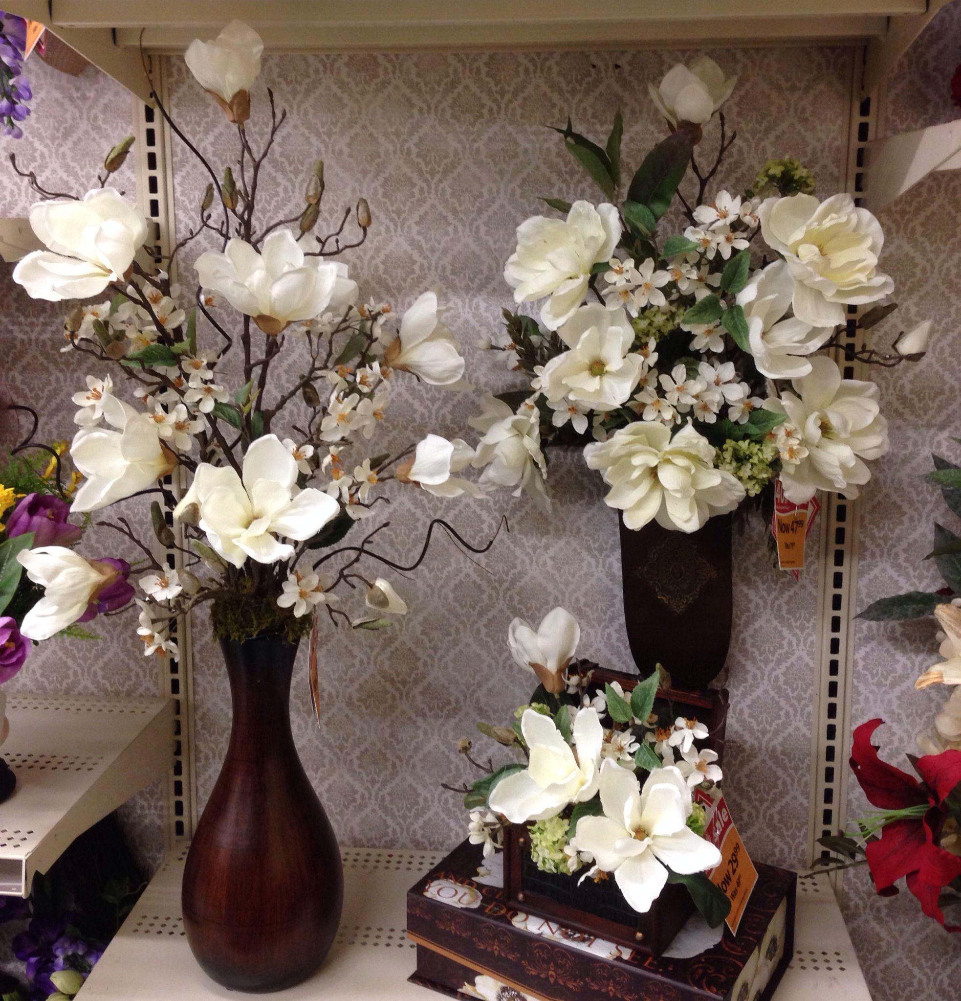 Pin By Tara Powers On My Floral Creations For Michaels Of Midlothian Virginia Flower Arrangements Magnolia Decor Silk Flower Arrangements