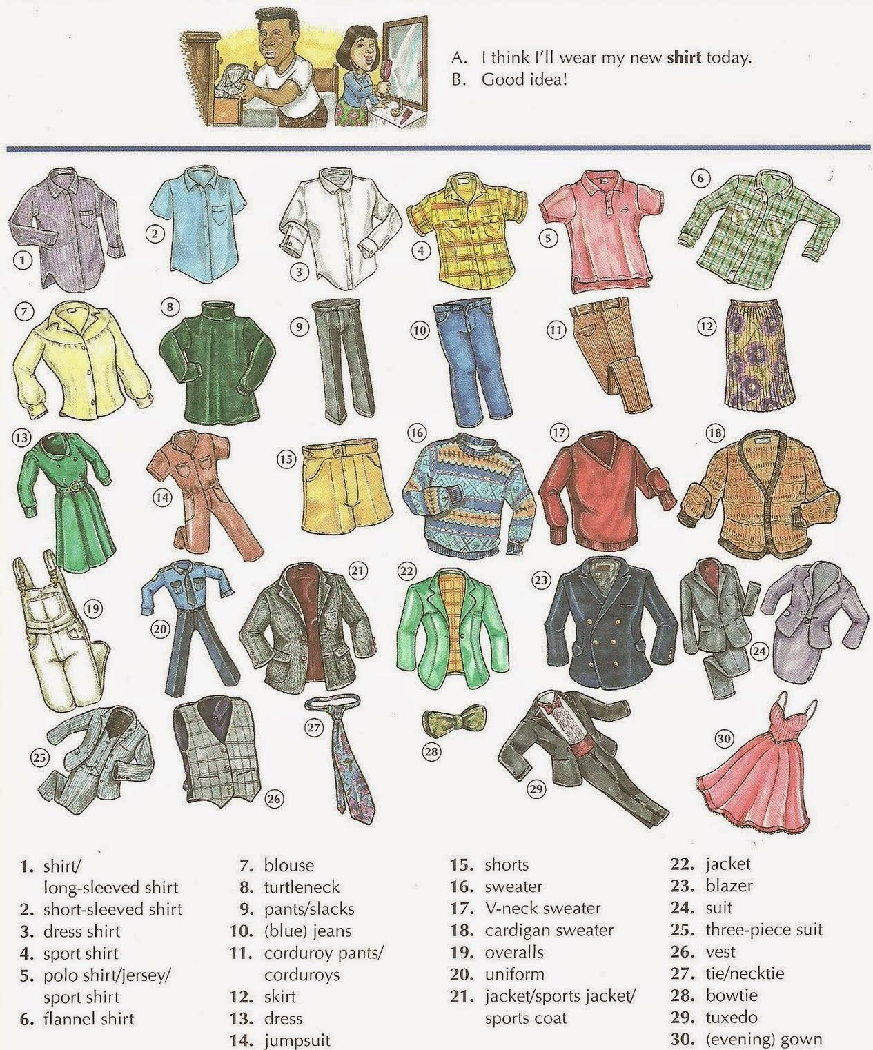Learn English Team Men S And Women S Clothes Vocabulary