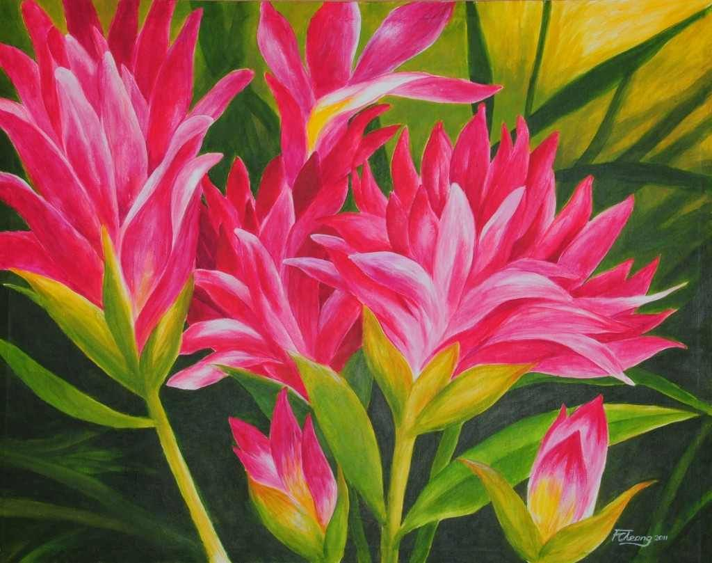 10 easy acrylic flower paintings art for Simple flower paintings for beginners