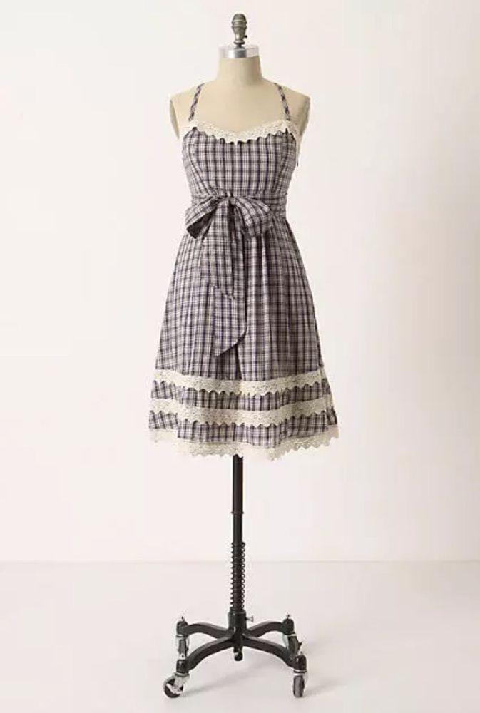 0987667431 Moulinette Soeurs Anthropologie Plains & Prairies Blue White Plaid Lace  Dress 6 #MoulinetteSoeurs #Sundress #SummerBeach