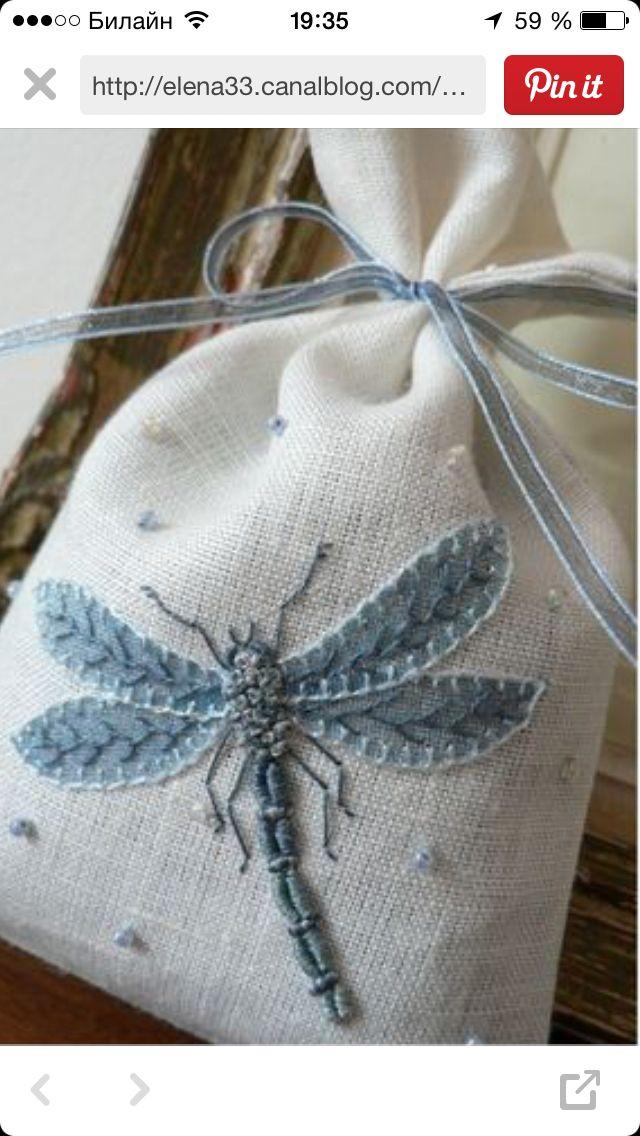 Dragonfly: could embroider on felt applique? | bordados | Pinterest ...