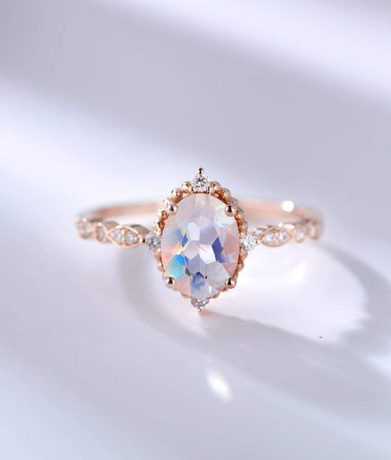 Natural Moonstone Engagement Ring White Gold 5mm Moonstone Antique Wedding Diamond Custom Milgrain Solitaire Unique Retro Anniversary Women