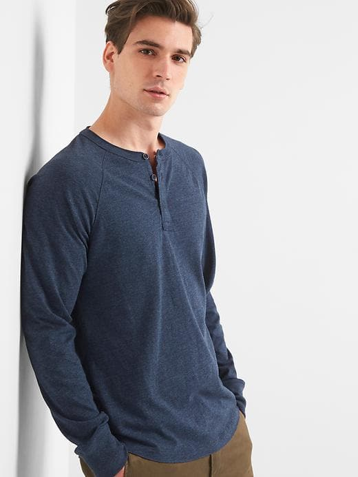 921d4e16cf Gap Mens Long Sleeve Marled Henley Navy