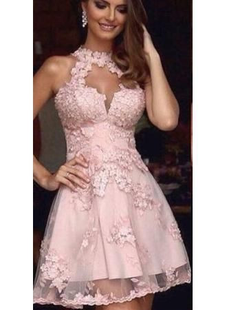 A-Line Short Pink Prom Dresses