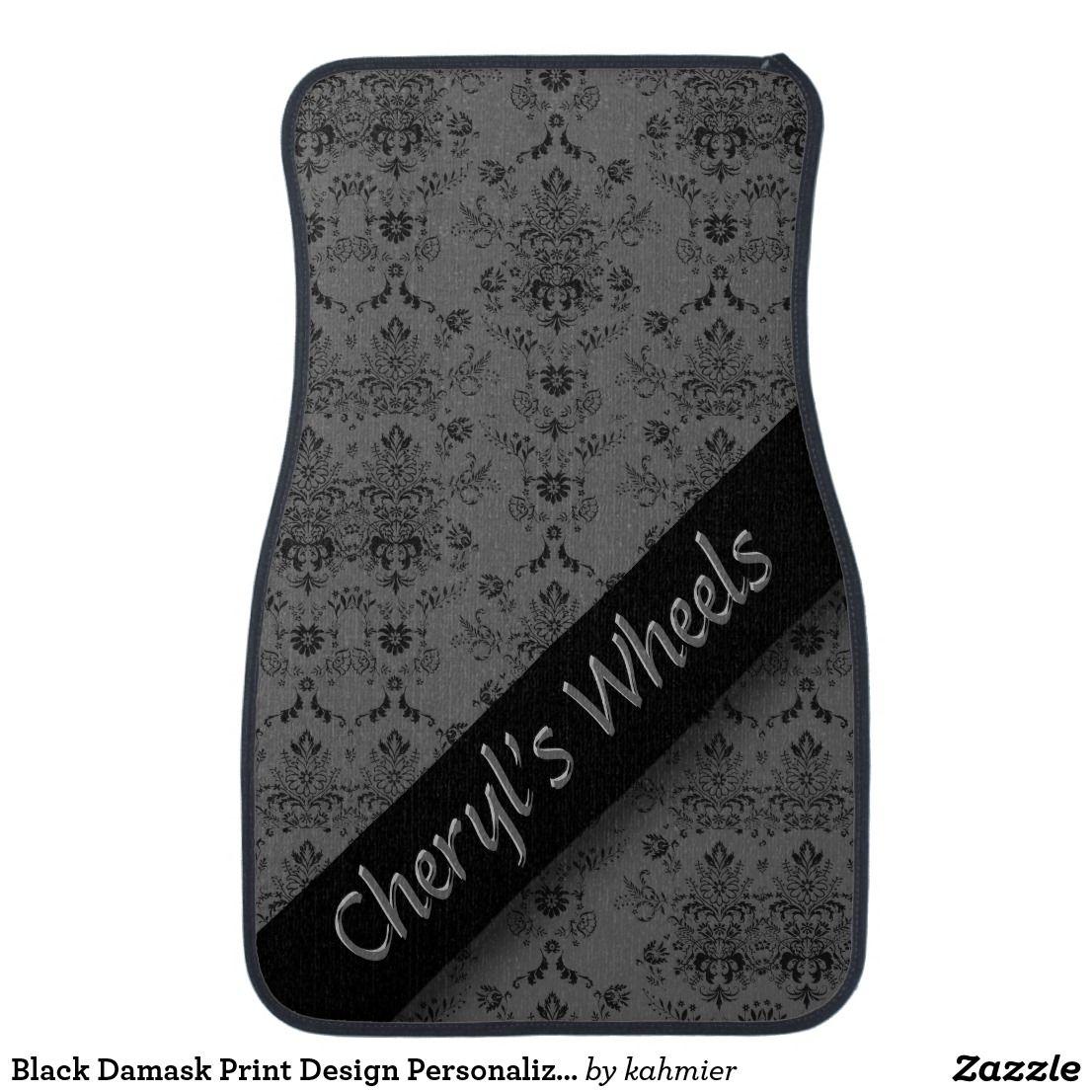 Black Damask Print Design Personalized Car Floor Mat