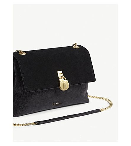 cd1d4839ca9a TED BAKER - Helena suede and leather cross-body bag
